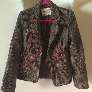 Embroidered Tweed Blazer